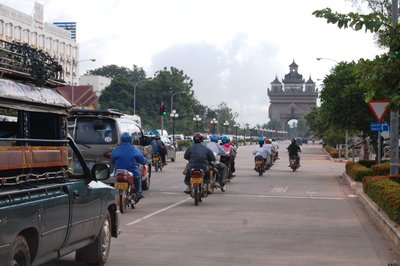 Vientiane lunchtime traffic
