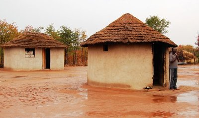 A homestead in a rural African village.