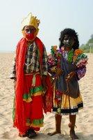 Visitors on the beach during Shivaratri festival.