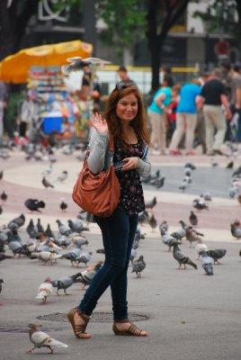 Me and the pigeons at La Plaza Catalunya