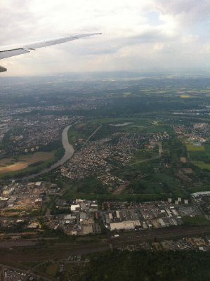 The view of Frankfurt, Germany from the plane