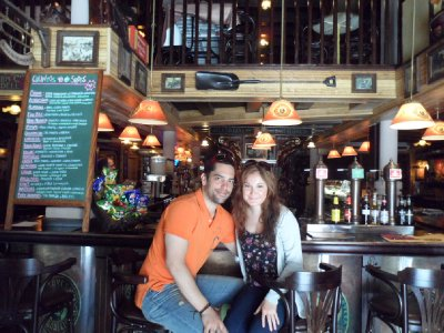 Us at the bar that served us the towering Tapas