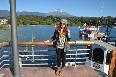 Me with Volcan Villarrica in the background. This was taken in Pucon, just before the ferry terminal.