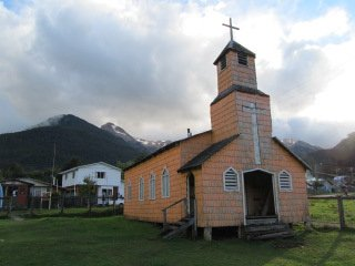 church made out of alerce wood