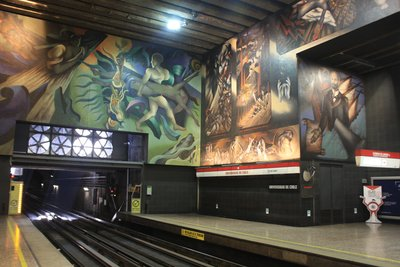 A tube station in Santiago - a bit more colourful than London Bridge!