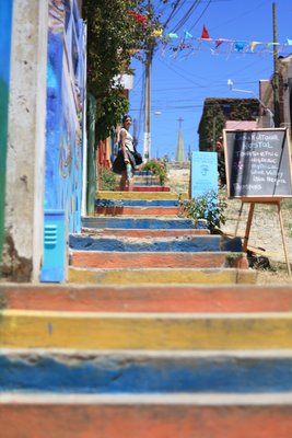 Everything around here is so colourful...even the steps! The colours are from leftover paints from the painting of local fishermen's boats