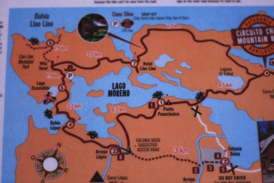 A map of the Circuito Chico bike ride...that we got a bus round!