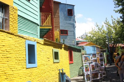 The brightly coloured houses in La Boca