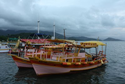 Colourful boats docked in the harbour