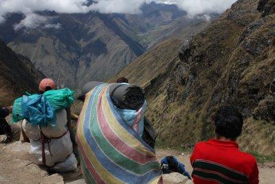Super-human porters taking a well-earned break