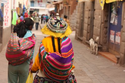 En route to Pisac market - the headgear is needed to protect from the beating sun