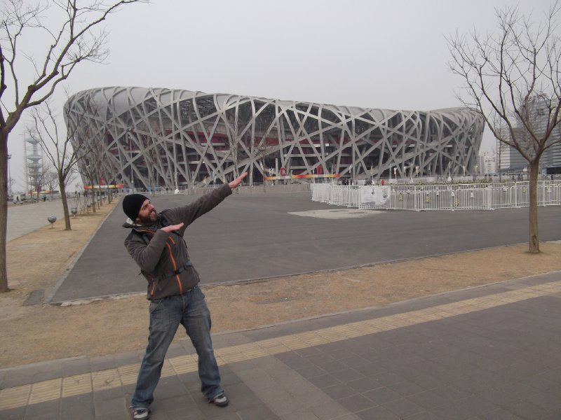 "The customary ""Atlas"" pose at the Birds Nest"