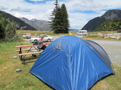 Our little tent in the Mt Cook DOC site
