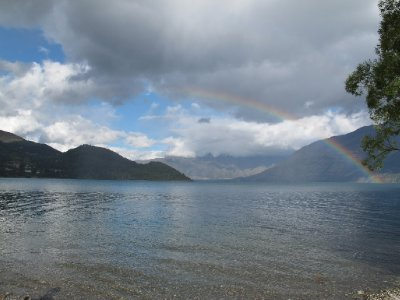 Rainbow over the lake at our campsite Queenstown