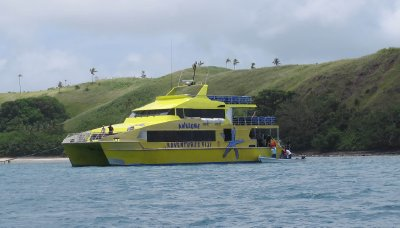 big yellow boat we caught between islands