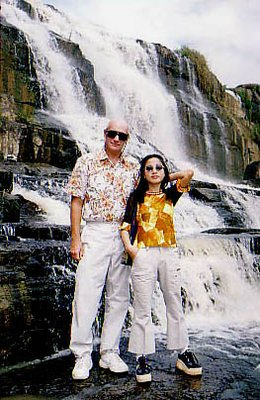 """With my ex-GF at DaLat Vietnam waterfall"""