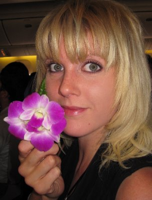 Orchid Given to all the Women Aboard Thai Airways at Disembarkation