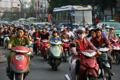 Scooter Madness - The Busiest Road I have Encountered to Date