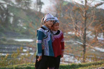 Hani Children Wearing Typical Ornate Head-dresses