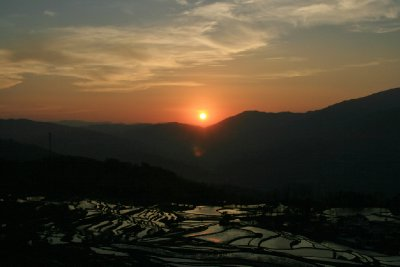 Sunset Over the Rice Terraces at Golden Bamboo Village