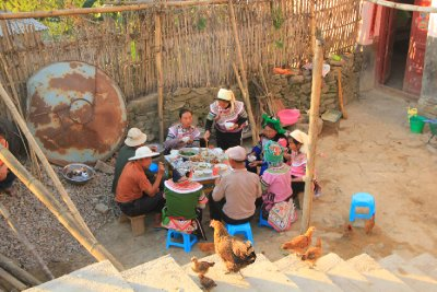 Villagers Enjoying Dinner