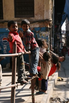 Friendly Local Kids in the Backstreets of Kathmandu