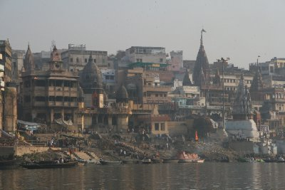 Cremation Fires at Manikarnika Ghat From a Distance