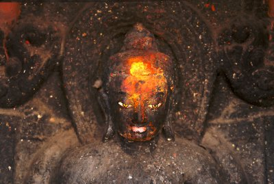 Stone Buddha with Painted Third Eye