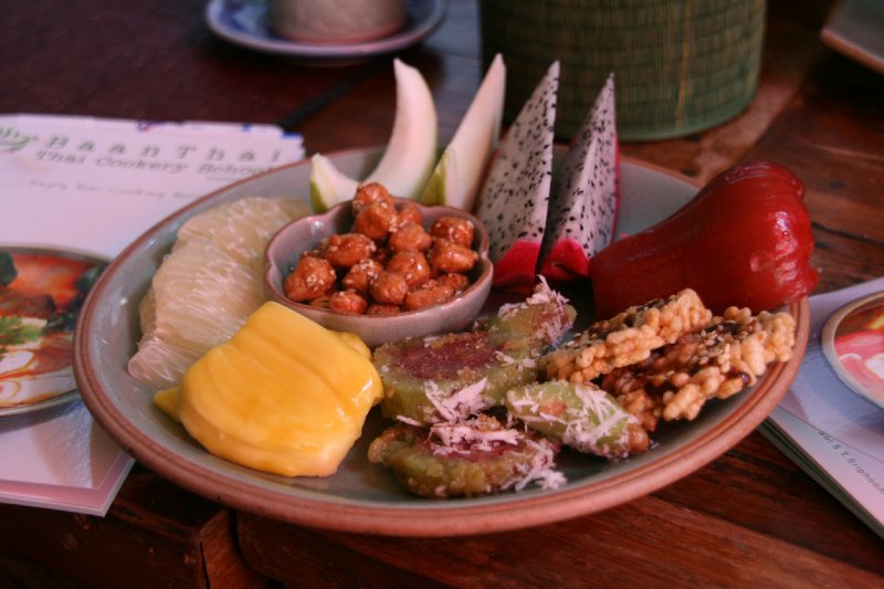 Thai Snacks, including - Dragonfruit, Jackfruit, rice crackers, glutenous banana rice
