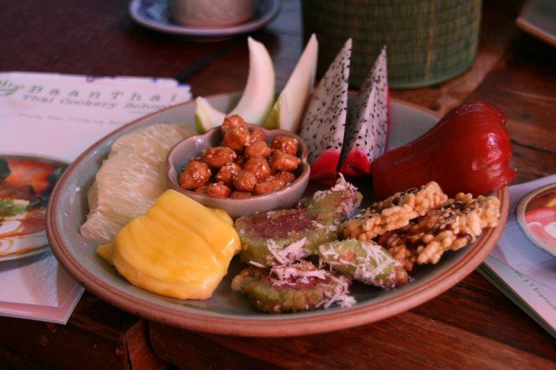 Thai Snacks, including - Dragonfruit, Jackfruit, rice crackers, glutenous banana rice