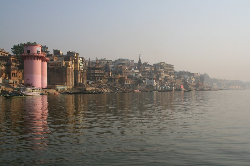 View Down the River Towards Manikarnika Ghat