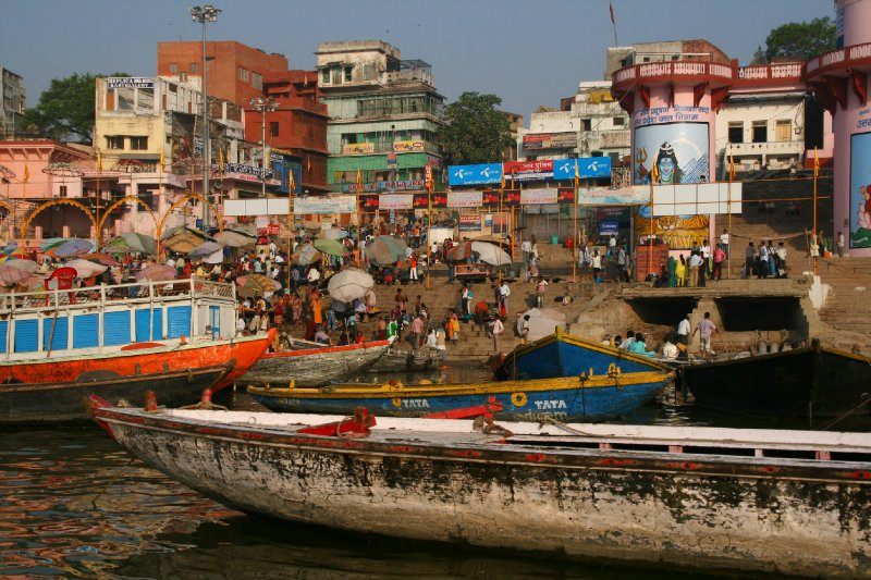 Boats Lining the Ganges