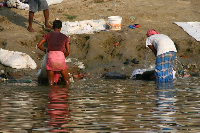 Washing Clothing in the Ganges