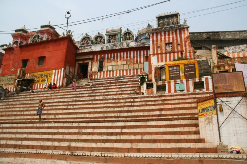 Striped stairs of Kedar Ghat