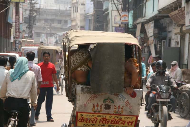Squeezing into a Rickshaw