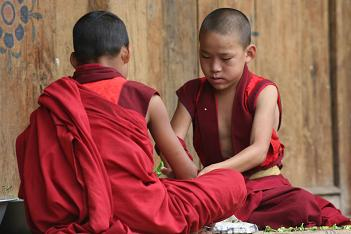 Young monks at Punakha Dzhong