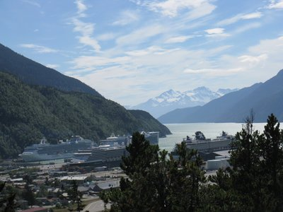 Skagway has a population of 862 until the cruise ships come in then there are 10,862 people!