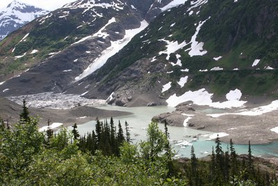 This is Summit Lake and we were told that in about 4 days all of its water will be passed under the Salmon Glacier.