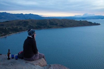 Ali enjoying the view over Lake Titicaca sunset