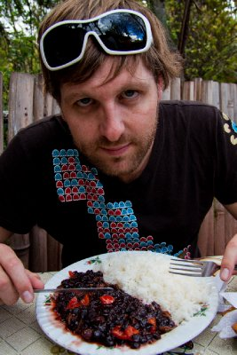 Travis with Duck and Rice, Lucre