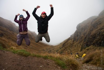 Celebrating reaching the top of Dead Woman's Pass