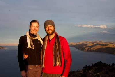 Us at Sunset on Lake Titicaca