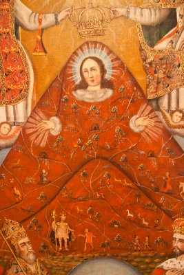 Famous painting of Cerro Rico with Virgin Mary