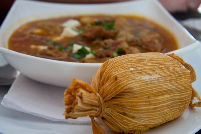 Tamale and Lamb Locro with melted goat cheese