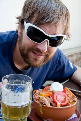 Travis with Macho Pique (Bolivian traditional food only for macho men)