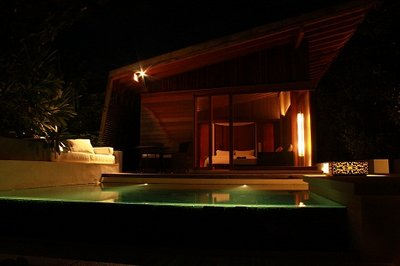 island villa with pool at night-3