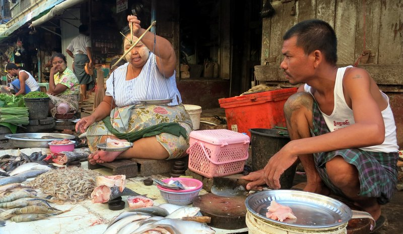 Yangon Market - the fish vendor