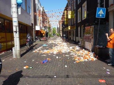 The aftermath of Queen's Day - people that showed up that day without a clue about Queen's Day thought the city had been hit by a rubbish bomb