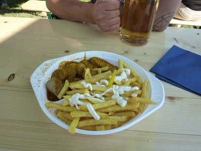 Currywurst with Chips and Mayo - possibly our new favourite food (looks revolting...tastes amazing!)