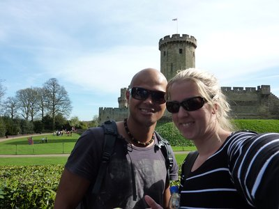 Kate and Micka outside Warwick Castle